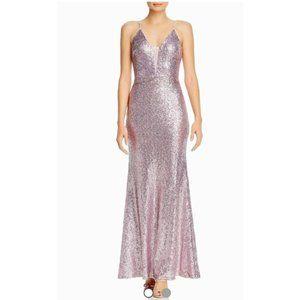 NWT Aqua Womens Sequined Mesh Inset Evening Dress